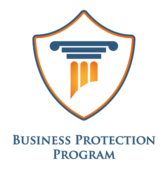 a tower with the words business protection program